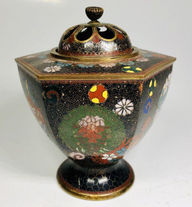 Antique 1920s Chinese Cloisonne Enamel Hexagon Incense Burner