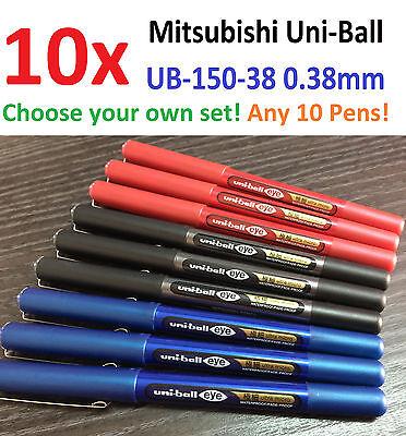 10x Mitsubishi Uni-ball Ultra Micro Gel Pen Choose Your Black Blue Red Ub150 38