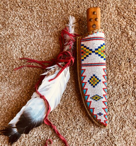 Native American beaded knife sheath with knife