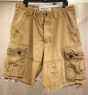 Abercrombie and Fitch Distressed Mens Cargo Shorts Size 36 Light Brown/khaki