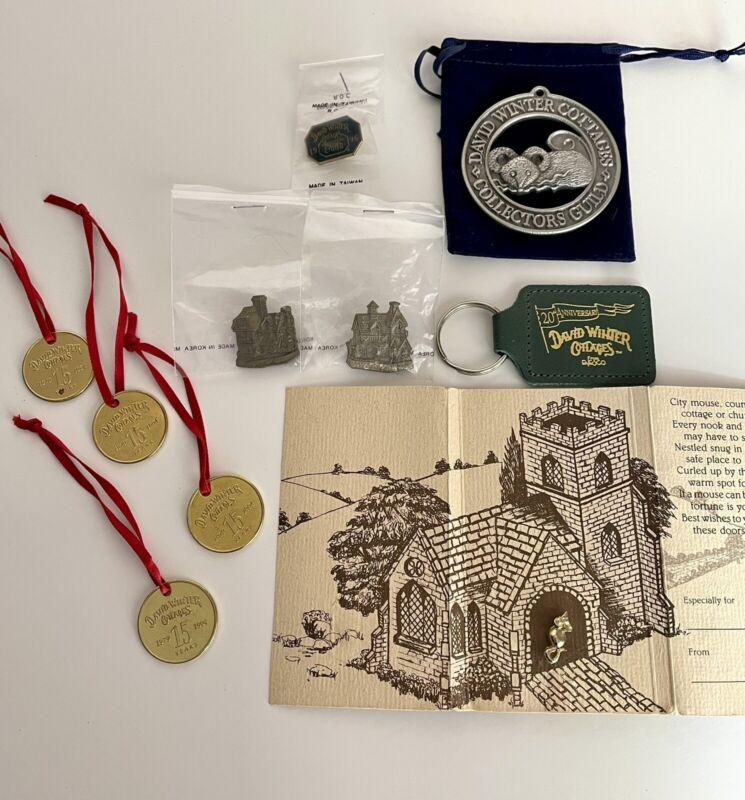 David Winter 10 MEMORABILIA ITEMS:  Mouse Ornament, Pins, Anniv. Medallions.