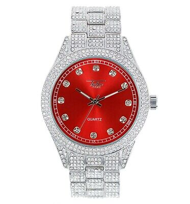 Men Ice Watch Bling Rapper Simulate Diamond Metal Band Silver Hip Luxury RED