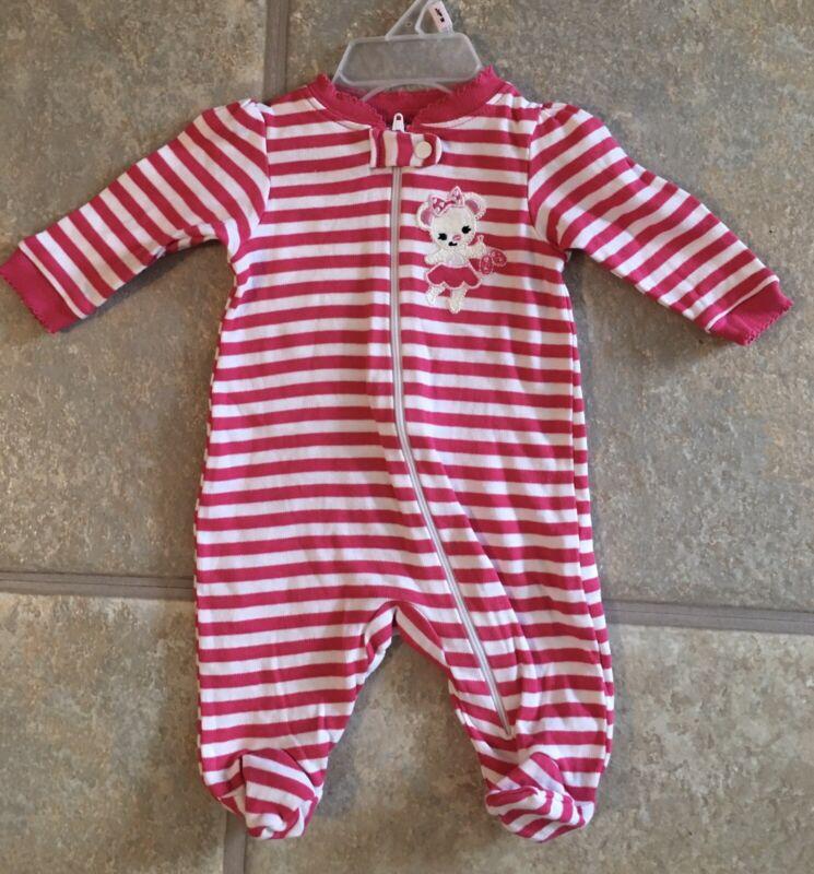 Faded Glory Girl's Size Newborn Bright Pink & White Striped 100% Cotton Sleeper