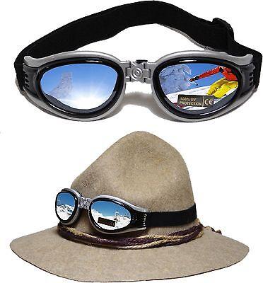 NEUE Brille Skibrille Sportbrille Gletscherbrille mit Band silber - schwarz