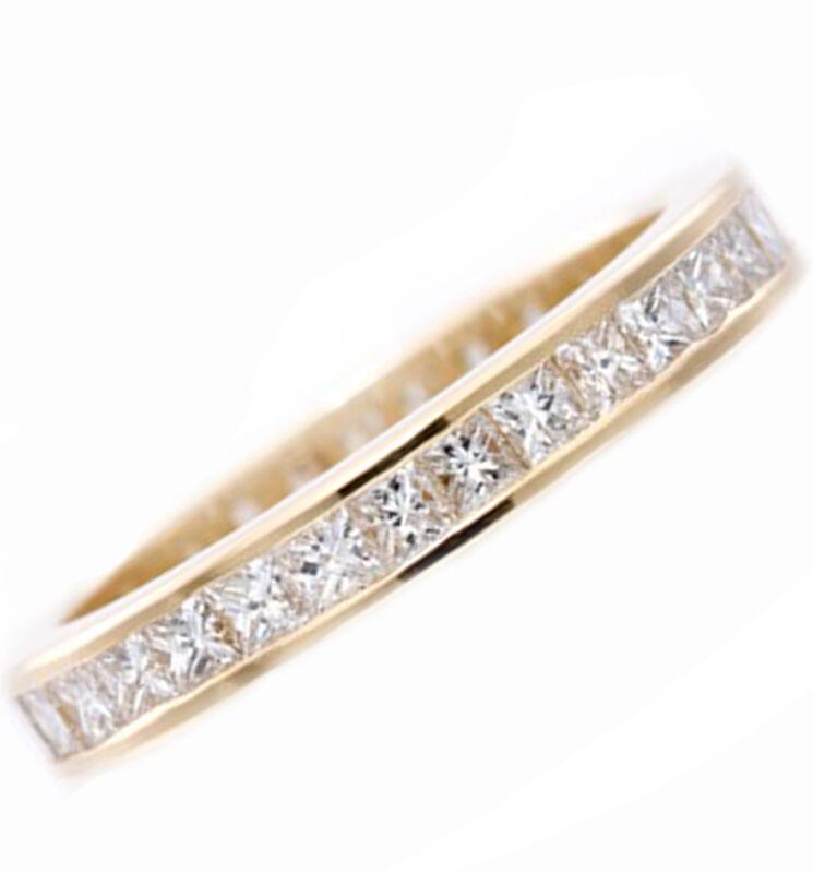 Diamond Eternity Ring Princess Cut 18k Solid White Gold 4.00 Carat
