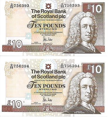 2 Royal Bank of Scotland £10 notes uncirculated, consecutive numbers, last issue