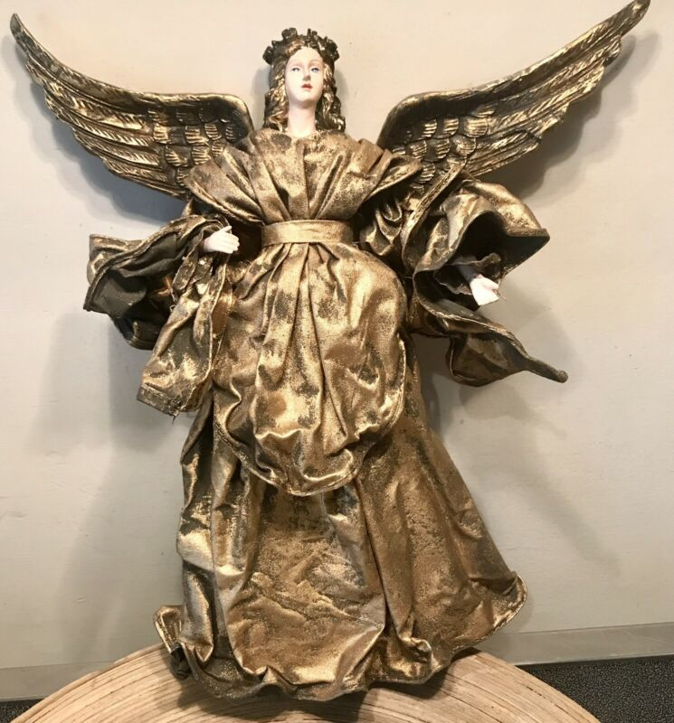 "PAPER MÂCHÉ  CHRISTMAS ANGEL TREE TOPPER 12"" MOVABLE WING / GOLDEN COLOR b"