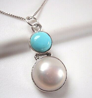 Cultured Pearl and Turquoise Round 925 Sterling Silver -