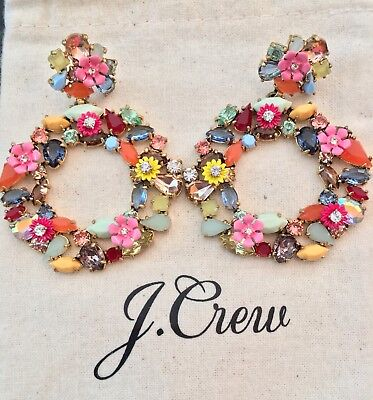 J.Crew COLORFUL FLORAL HOOP EARRINGS! New$65 MULTI COLOR With Bag!