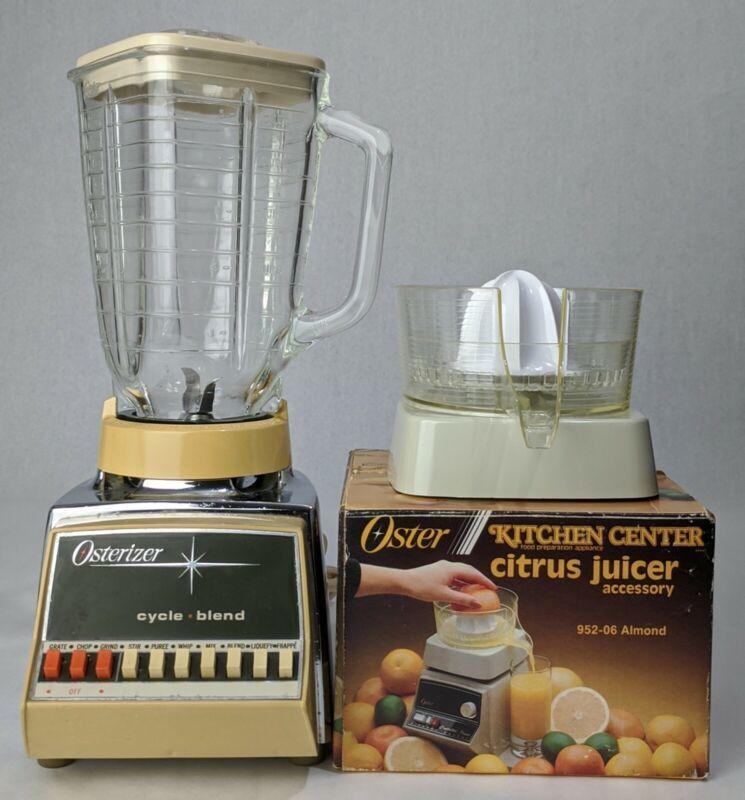 Vintage Osterizer 10 Speed 847 Chrome Base Blender & Citrus Juicer Accessory
