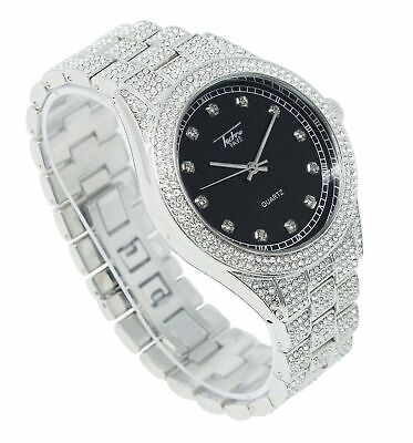 Men Iced Rapper Silver PT Lab Diamond Black Face Metal Band Hip Hop Luxury Watch