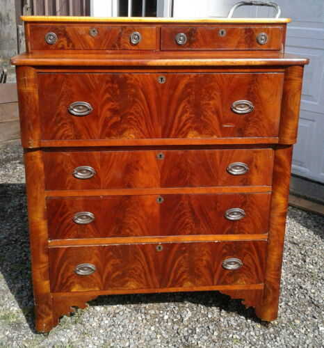Antique Cherry Sheraton Style 6 Drawer Chest of Drawers 1830s