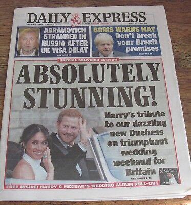 The Daily Express Royal Wedding Harry Megan  Newspaper May 20 2018.