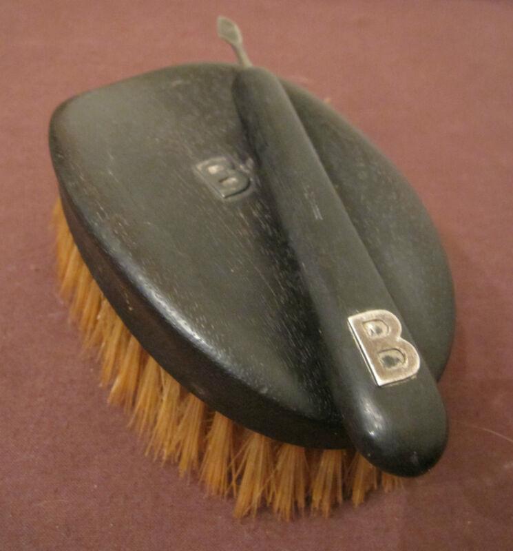 antique hand carved ebony sterling silver B vanity hair beard brush cuticle tool