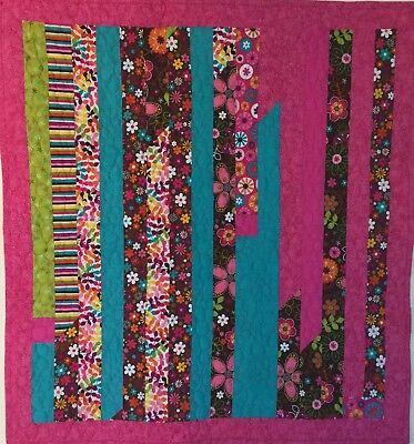 SALE Baby WheelChair Quilt Pink Borders Flowers & Leaves 34