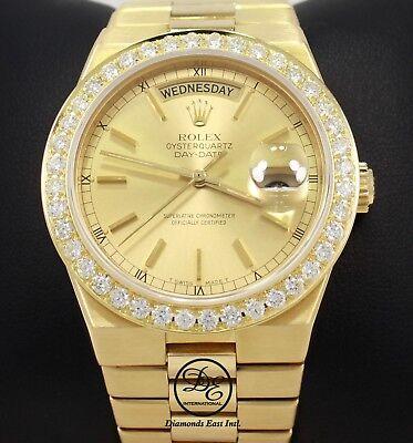 Rolex President Day-Date 19018 18K Yellow Gold 2.5C Diamond Bezel Oyster Quartz