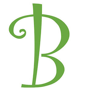 Letter b initial vinyl car decal window sticker monogram for Stick on letters for glass