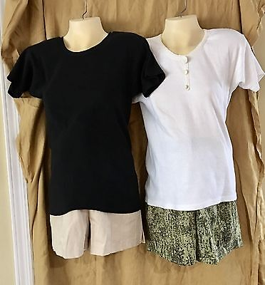 MATERNITY WEAR SHORTS   ~ SET OF TWO ~. Beige and Green Print... NEW w/tags - Olian Maternity Wear