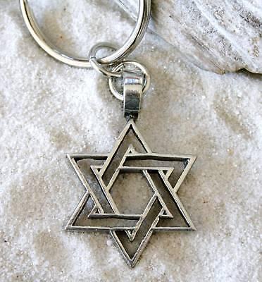 JEWISH STAR OF DAVID Pewter KEYCHAIN Key (Star Key Ring)