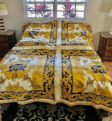 New Rare $10k+ Gianni Versace Atelier Vintage King Bedspread Blanket Sheet Set