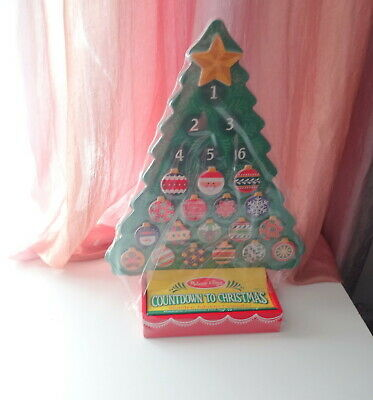 New By Melissa & Doug Countdown to Xmas Advent Calendar Wooden Tree Ornaments
