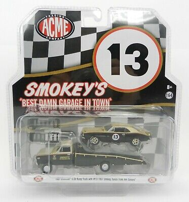 1:64 GreenLight ACME *SMOKEY YUNICK* 1967 C-30 RAMP TRUCK & 1967 Camaro #13 NIP!