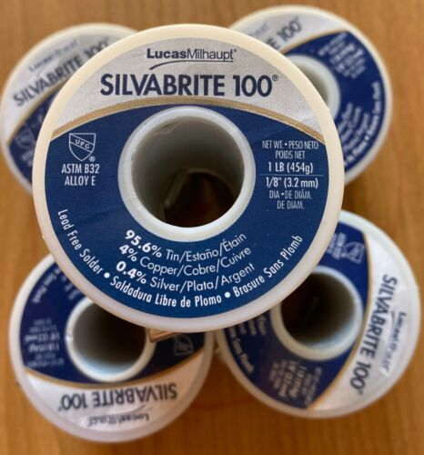 Silvabrite 100 Solder, Lot of 5 1lb spools