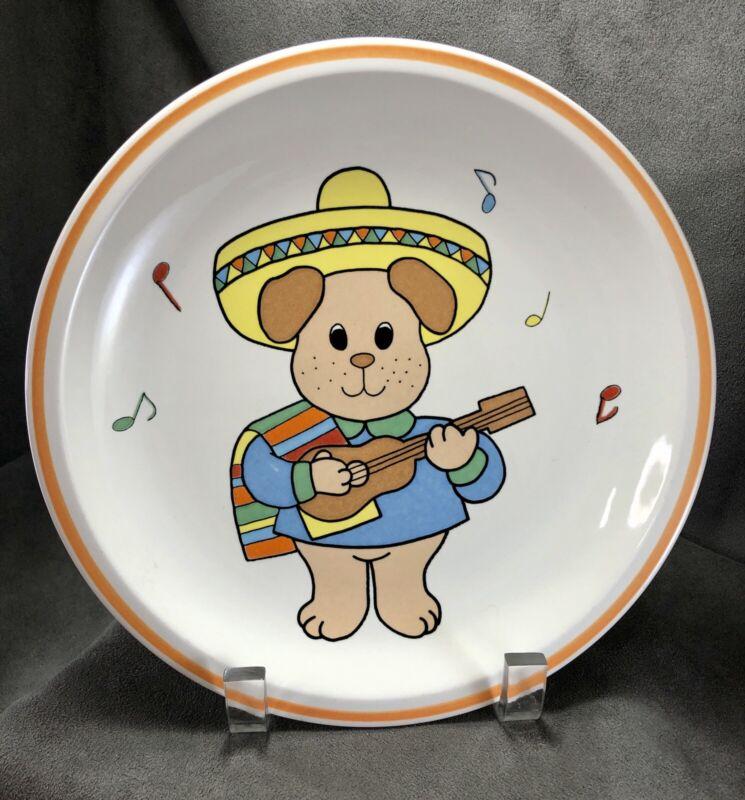 "Vintage Studio Nova Fiesta Sombrero Puppy Dog Childs Plate 8.5"" Guitar Music"