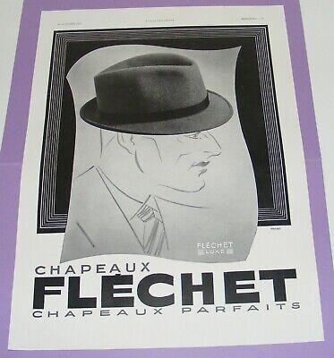 VÉritable publicitÉ ancienne chapeaux flechet homme l'illustration 1937 /b3249