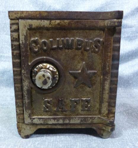 "Antique ""Columbus Safe"" Cast Iron & Stamped Steel Still Bank"