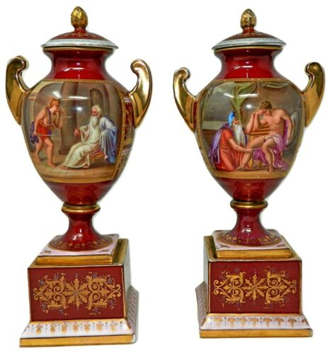 An Antique Pair of Red Royal Vienna Urns Hand Decorated Scenes with Lids