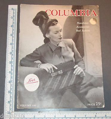 COLUMBIA NOTIONS MAGAZINE 1945 WOMENS ACCESSORIES BELTS PURSES HATS - Columbia Hats Gloves
