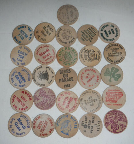 Mardi Gras Parade Coin Tokens Doubloons Lot of 26 Wooden Nickels 1970s 1980s