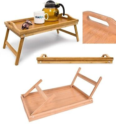 Bed Trays With Legs (Bamboo Breakfast Bed Tray Serving Laptop Table Folding Leg With Handle Lap Tray )