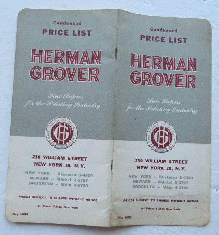 Catalog Price List  For Herman Grover Fine Papers For Printing Industry 1953