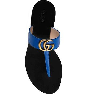 e6dc4e4b1663 Gucci Marmont Electric Blue GG Logo Black Mule Thong Flat Flip Flop Sandal  35