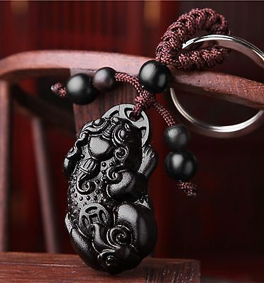 Feng Shui Peach Wood Curved Pi Yao/pi xiu/xie  Key Ring chain amulet for Wealth