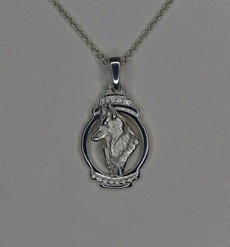 Sterling Silver Belgian Tervuren Belgian Sheepdog Head Study On An Oval Pendant