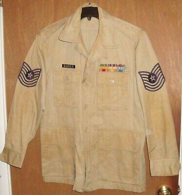 Vintage 50s Tropical Cotton Tan Bush Jacket Spec MIL-J-4954 MSG Size 44R ✈