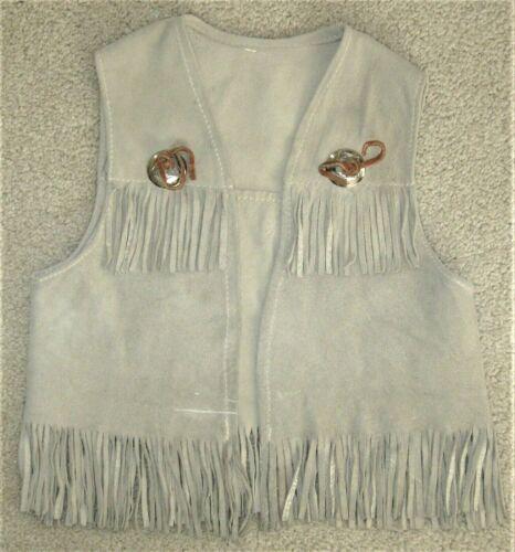 Vintage Deer Wear Deer Skin Leather Suede Vest Fringe Sm Boys 4 5
