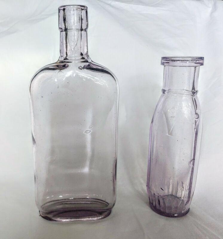 2 Antique Amethyst Bottles