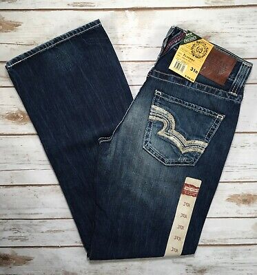Mens Big Star Jeans Mid Rise Pioneer Embroidered Distressed Bootcut 31R 36S Big Star Bootcut Jeans