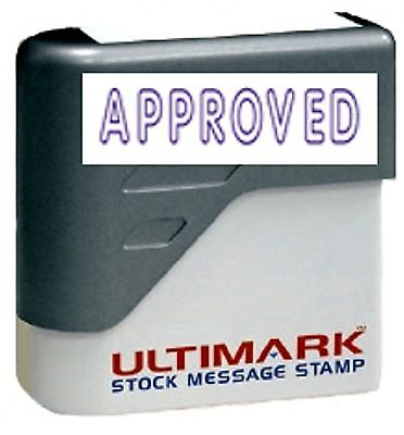 Approved Stamp Text On Ultimark Pre-inked Message Stamp With Blue Ink