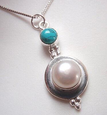 Cultured Pearl & Blue Turquoise 925 Sterling Silver Pendant Corona Sun -