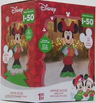 Christmas Disney 5 ft Light Up Minnie Mouse with Present Airblown Inflatable NIB