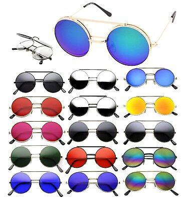 Metal Flip Up Lens Steampunk Vintage Retro Style Round Sunglasses Black Gold (Round Flip Up Sunglasses)