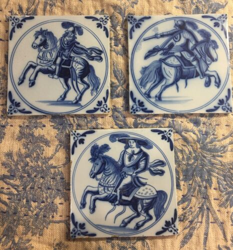 """Free Shipping! TRIO ANTIQUE Delft SOLDIERS ON HORSEBACK White Blue 5 3/4"""" SQUARE"""