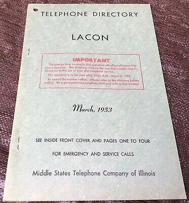 1953 Lacon, IL Telephone Directory Vintage Illinois Phone Book