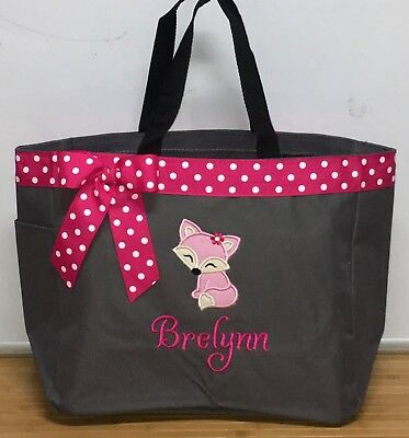 Personalized Baby Diaper Bag Tote Monogrammed Fox Girl (Personalized Baby Girl Diaper Bags)