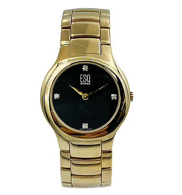 ESQ Movado Gold Tone Steel Black Dial Quartz Mens Watch 07301190